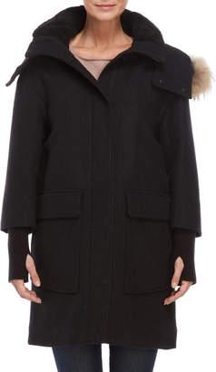 Soia & Kyo Wool Real Fur Trim Hooded Coat
