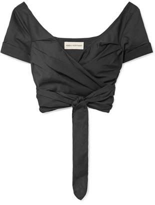 Mara Hoffman Penelope Cropped Organic Cotton-poplin Wrap Top - Black