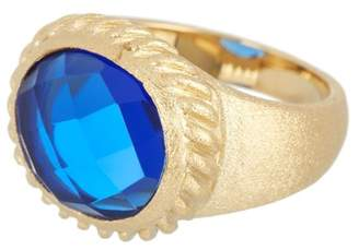 Rivka Friedman Twisted Bezel Oval Faceted Poppy Blue Crystal Satin Ring