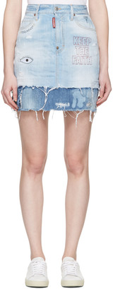 Dsquared2 Blue Denim Embroidery Miniskirt $495 thestylecure.com