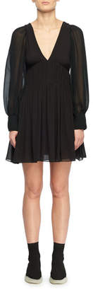 Stella McCartney Deep V-Neck Long-Sleeve Fitted-Waist Silk Dress