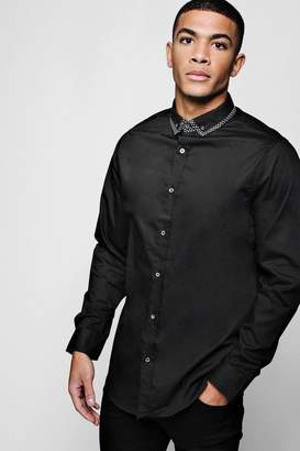 boohoo Slim Fit Smart Long Sleeve Shirt With Tipped Collar