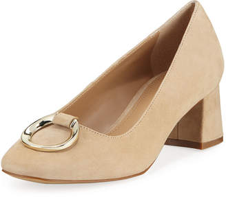 Elie Tahari Mavis Suede Low-Heel Pumps with Buckle Detail