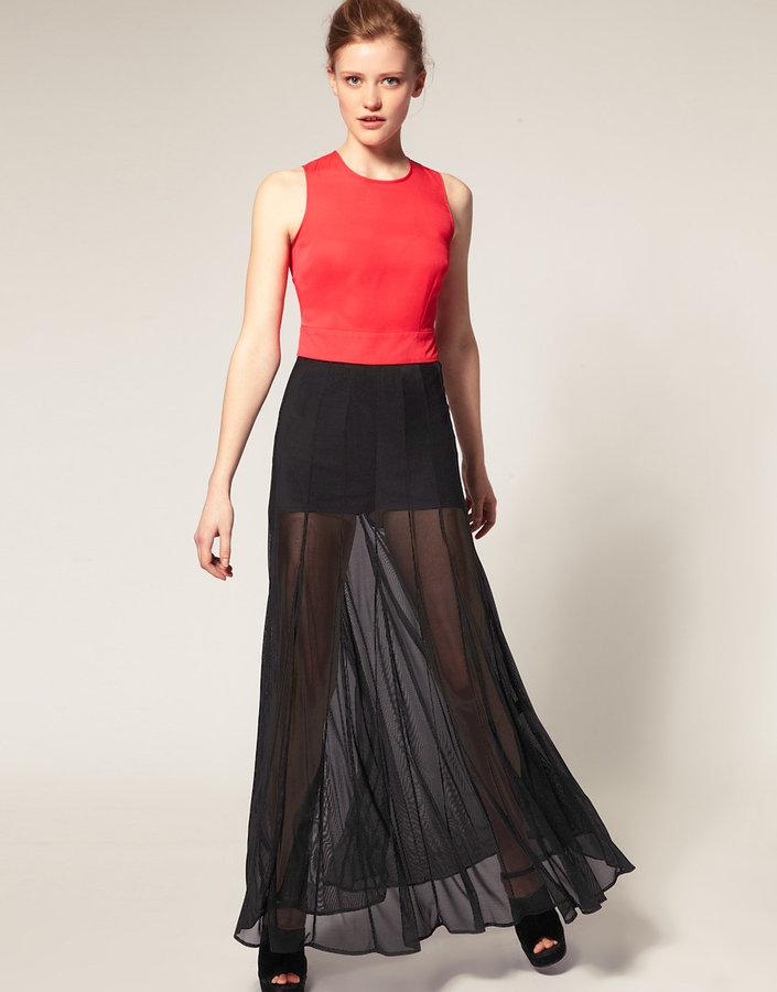 ASOS Maxi Dress with Sheer Overlay