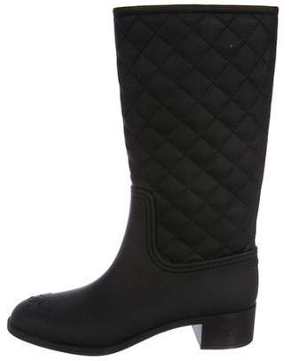 Chanel CC Quilted Rain Boots