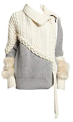Sacai Women's Braided Cable Knit Faux-Fur-Cuff Jacket