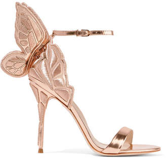 Chiara Embroidered Metallic Leather Sandals - Pink