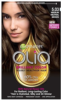 Garnier Hair Color Olia Oil Powered Permanent Color, 5.03 Medium Neutral Brown (Packaging May Vary) $9.99 thestylecure.com