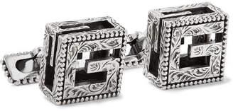 Gucci Engraved Burnished Sterling Silver Cufflinks - Men - Silver