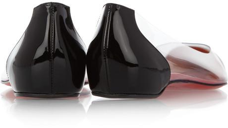 Christian Louboutin Corbeau PVC and patent-leather flats