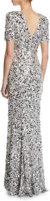 Rachel Gilbert Short-Sleeve Front-Slit Sequin-Embroidered Evening Gown