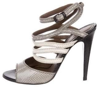Bottega Veneta Snakeskin Ankle-Strap Sandals