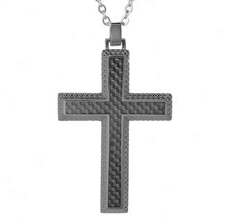 FINE JEWELRY Mens Gunmetal Gray IP Stainless Steel and Carbon Fiber Cross Pendant Necklace
