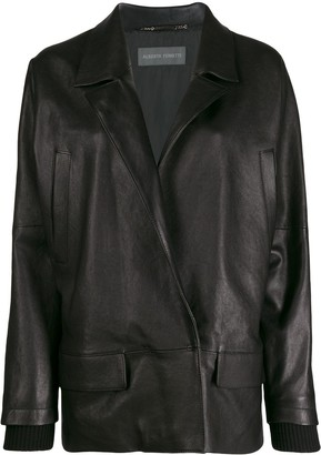 Alberta Ferretti oversized leather blazer