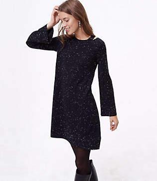 LOFT Petite Flecked Cutout Sweater Dress