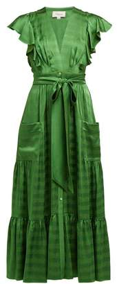 Temperley London Gaia Ruffled Satin Jacquard Dress - Womens - Green