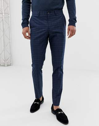 Jack and Jones skinny suit pants in blue check