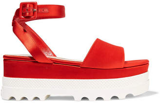 Miu Miu - Satin Platform Sandals - Red $590 thestylecure.com