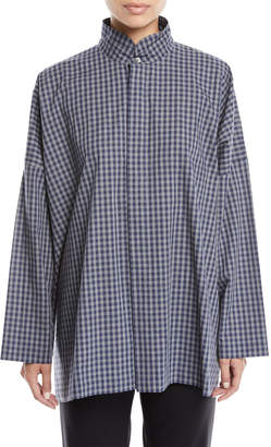 eskandar Wide Double Stand-Collar Gingham Cotton Shirt w/ Hidden Placket