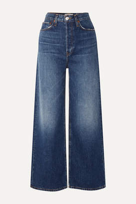 RE/DONE 60s Extreme Cropped Distressed High-rise Wide-leg Jeans - Mid denim