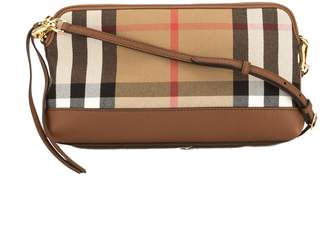 71fc252296c5 Burberry Tan Leather and House Check Abingdon Clutch Bag (3647004)