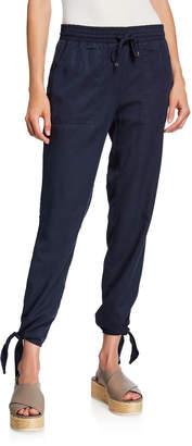 Black Tape Self-Tie Cuff Elastic Pants