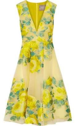 Lela Rose Pleated Floral Fil Coupé Organza Dress