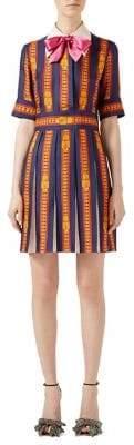 Gucci Sylvie Chain-Print Pleated Silk Dress
