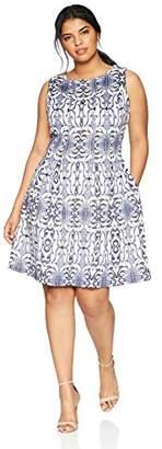 Gabby Skye Women's Plus Size Aztec Printed a-Line Dress