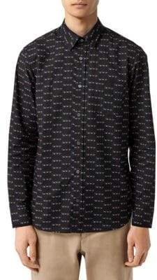 Burberry Black Logo Print Cotton Shirt
