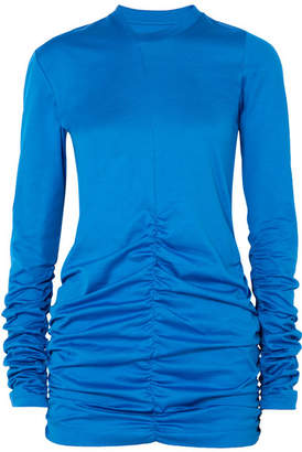 Marques Almeida Marques' Almeida - Ruched Cotton-jersey Top - Cobalt blue