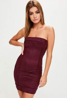 Missguided Burgundy Faux Suede Bandeau Bodycon Dress