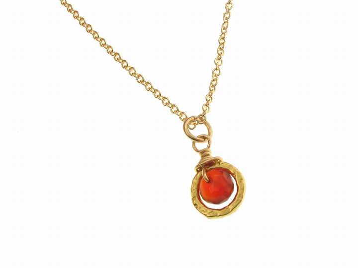 Dogeared Carnelian Pendant Gold Dipped