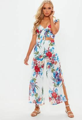 Missguided White Tropical Floral Co Ord Set