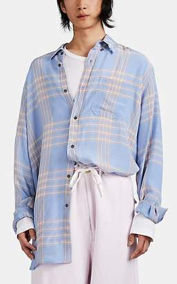 Marni Men's Plaid Silky Twill Oversized Button-Front Shirt - Lt. Purple