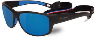 Vuarnet Cup Large Rectangular Active Polarized Sunglasses, Black/Gray-Blue