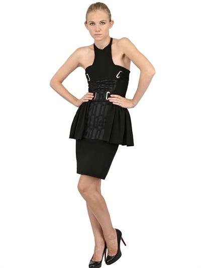 David Koma Silk Jacquard & Techno Jersey Dress