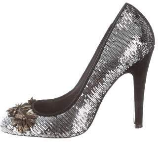 Tory Burch Sequin Round-Toe Pumps