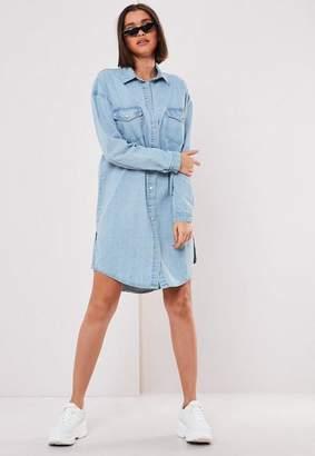 Missguided Blue Denim Shirt Dress