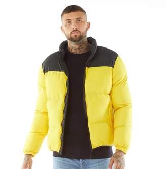 Brave Soul Mens Davis Puffer Jacket Yellow