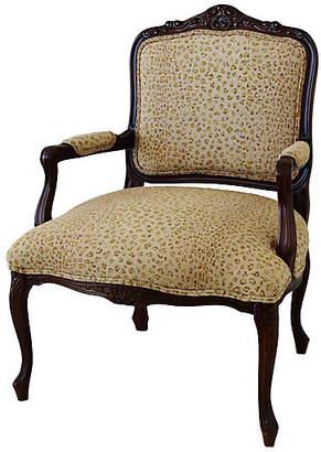 One Kings Lane Vintage 1950s Leopard Linen Armchair
