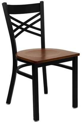 Generic Flash Furniture X-Back Chairs - Set of 2, Black Metal / Cherry Wood Seat