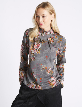Marks and Spencer Printed Turtle Neck Long Sleeve Blouse