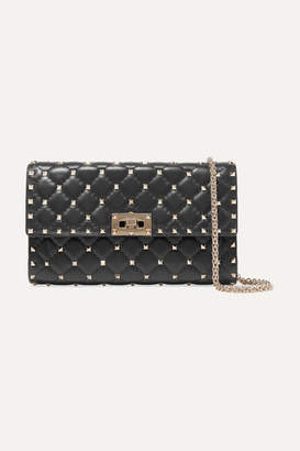 Valentino Garavani The Rockstud Spike Quilted Leather Shoulder Bag - Black