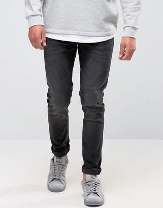 Asos Design Skinny Jeans In 12.5oz Washed Black