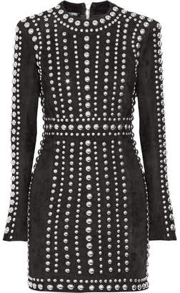 Studded Suede Mini Dress - Black