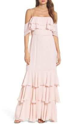 WAYF Lauren Cold Shoulder Tiered Gown
