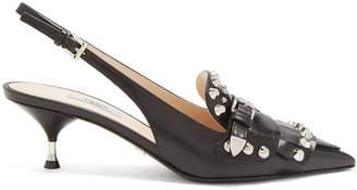 Stud-embellished leather slingback pumps