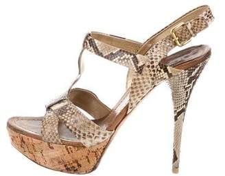 Miu Miu Snakeskin Platform Sandals