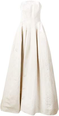 Oscar de la Renta strapless bustier train gown